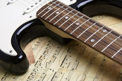 Piano and guitar with music