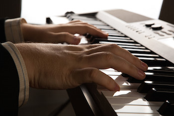 Pianist playing chords